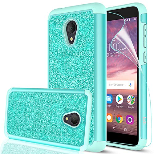 Alcatel TCL LX Case, Alcatel 1X Evolve Case(5.3) with HD Screen Protector for Girls Women, LeYi Glitter Bling Dual Layer Heavy Duty Phone Cover Case for Alcatel IdealXtra 2018 (5059R) TP Mint