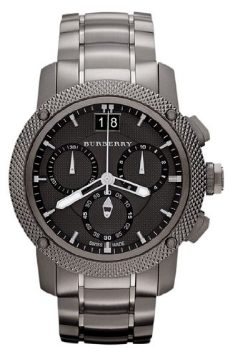 SALE! Authentic Swiss Burberry LUXURY Chronograph Watch Men Unisex The City Ion-Plated Gunmetal Date Dial Ceramic Bezel BU9381