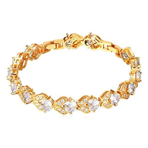 U7 Women Fashion Crystal Jewelry Gold Plated Diamond Accented White CZ Cubic Zirconia Tennis Bracelet,6-8 Inch