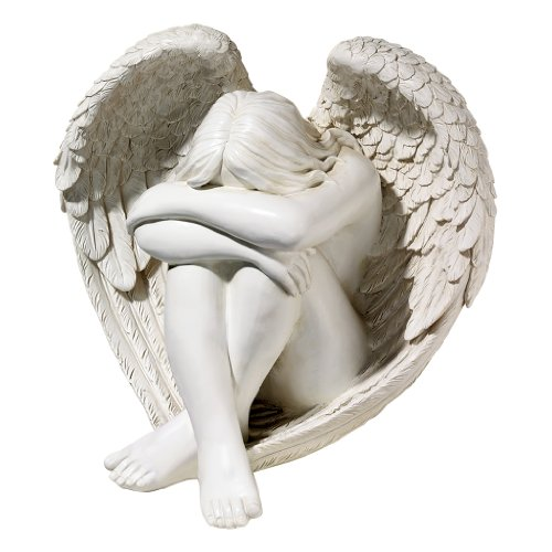 Design Toscano Serene Solitude Angel Garden Statue, 14 Inch, Polyresin, Antique Stone