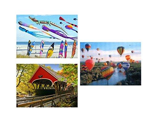 (3- 3D Lenticular Postcards - Kites, Hot Air Balloons, New England Covered Bridge)