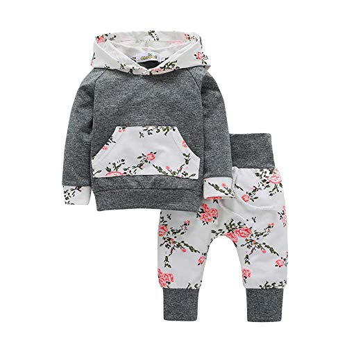 F_Gotal Baby Girls Long Sleeve Flowers Hoodie Tops and Pants Outfit with Pocket