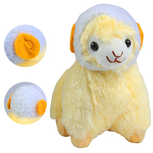 KSB 6'' Yellow Plush Alpaca,Plush Stuffed Animals Toys,Best Birthday Gifts For The Children Kids(White Hood)