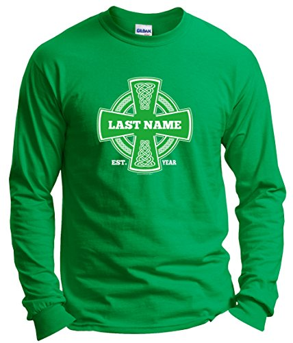 ST Patricks Day accessories ST Patricks Day Irish Pride Name Cross Custom Long Sleeve T-Shirt XL Green (Pride Long Womens Sleeve)
