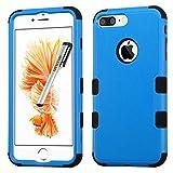 Apple iPhone 7 PLUS Case, Tuff Double Layer Cover for Apple iPhone 7 PLUS with Stylus Pen ApexGears (TM) Blue Black