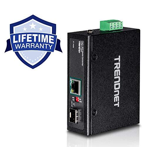- TRENDnet Industrial SFP to Gigabit PoE+ Media Converter, IP30 Rated Housing, Operating temperature range -40°- 75 °C to (-40° - 167 °F), TI-PF11SFP