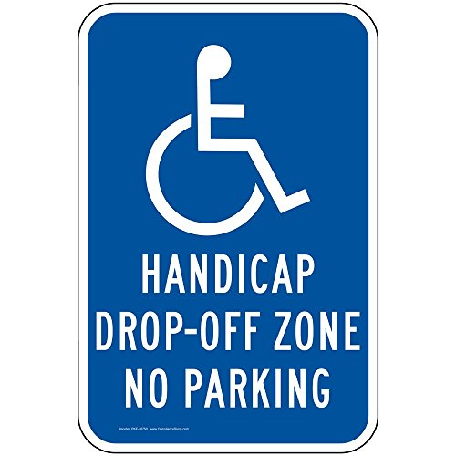 ComplianceSigns Aluminum Parking Control sign, Reflective 18 x 12 in. with Parking Handicapped info in English, ()