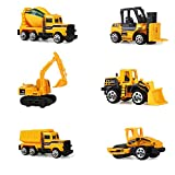 Homeofying 6Pcs Early Engineering Vehicles Kids Mini Dumper Bulldozer Truck Asphalt Car Toy Yellow