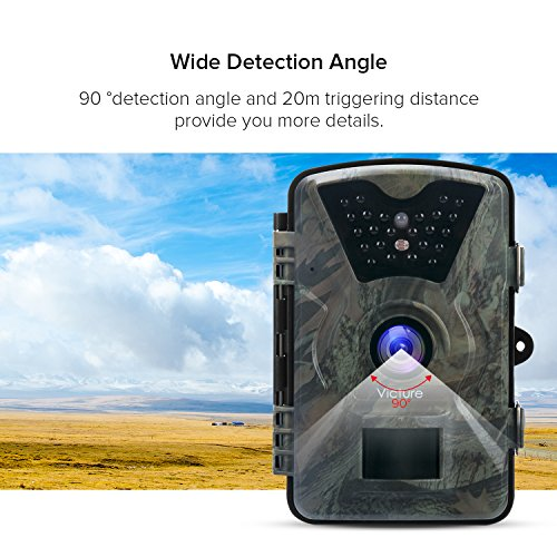 UpgradedVicture Trail Camera 1080P 12MP Wildlife Camera Motion Activated Night Vision 20m with 24 LCD Display IP66 Waterproof Design for Wildlife Hunting and Home Security Game Trail Cameras