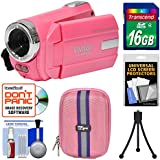 Vivitar DVR 508 NHD Digital Video Camera Camcorder (Bubble Gum Pink) 16GB Card + Case + Tripod + Kit