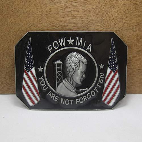 Buckes - Wholesale Zinc Alloy POW MIA Cowboy Jeans Gift Belt Buckle 01298-1 Pewter Finish 4cm Width Loop ()