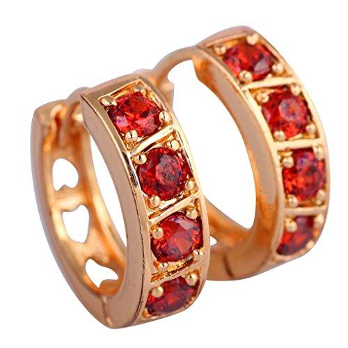 Silver Plated Trinket Crystal Gold (fonk: Graceful trinket 18K real gold plated Red Topaz Garnet hoop Earrings 88)