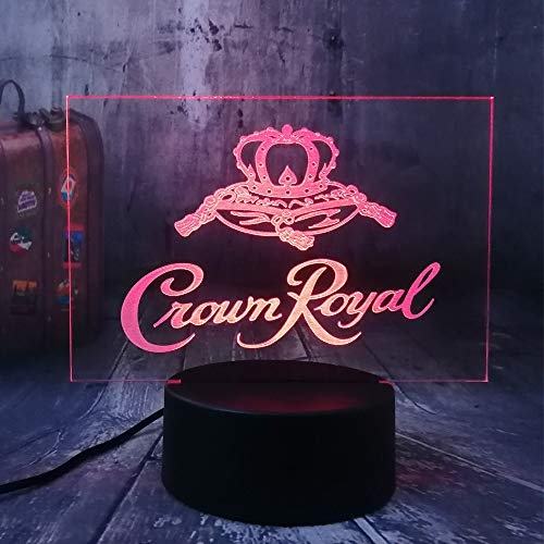 Xiujie New Crown Royal Logo Whisky Whiskey Wine 3D Led Night Light Lamp Home Room Office Decor New Year Xmas Christmas Gift