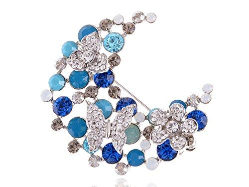 Alilang Silvery Tone Blue Clear Swarovski Rhinestone Butterfly Flower Half Moon Brooch Pin