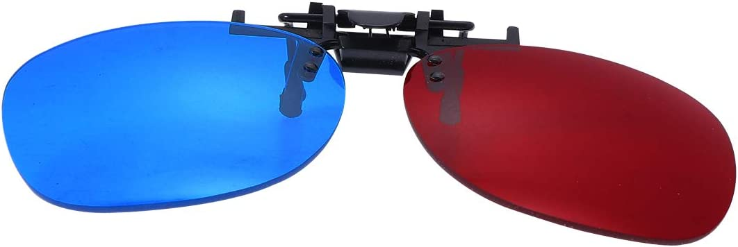 Artibetter Red Blue 3D Clip on Glasses for 3D TV Cinema Films DVD Viewing Home Movies (Without Glass Frame)