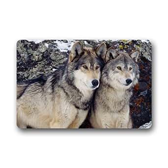 Custom Machine-washable Door Mat A Couple of Wolf Indoor/Outdoor Doormat 30(L) x 18(W) Inch
