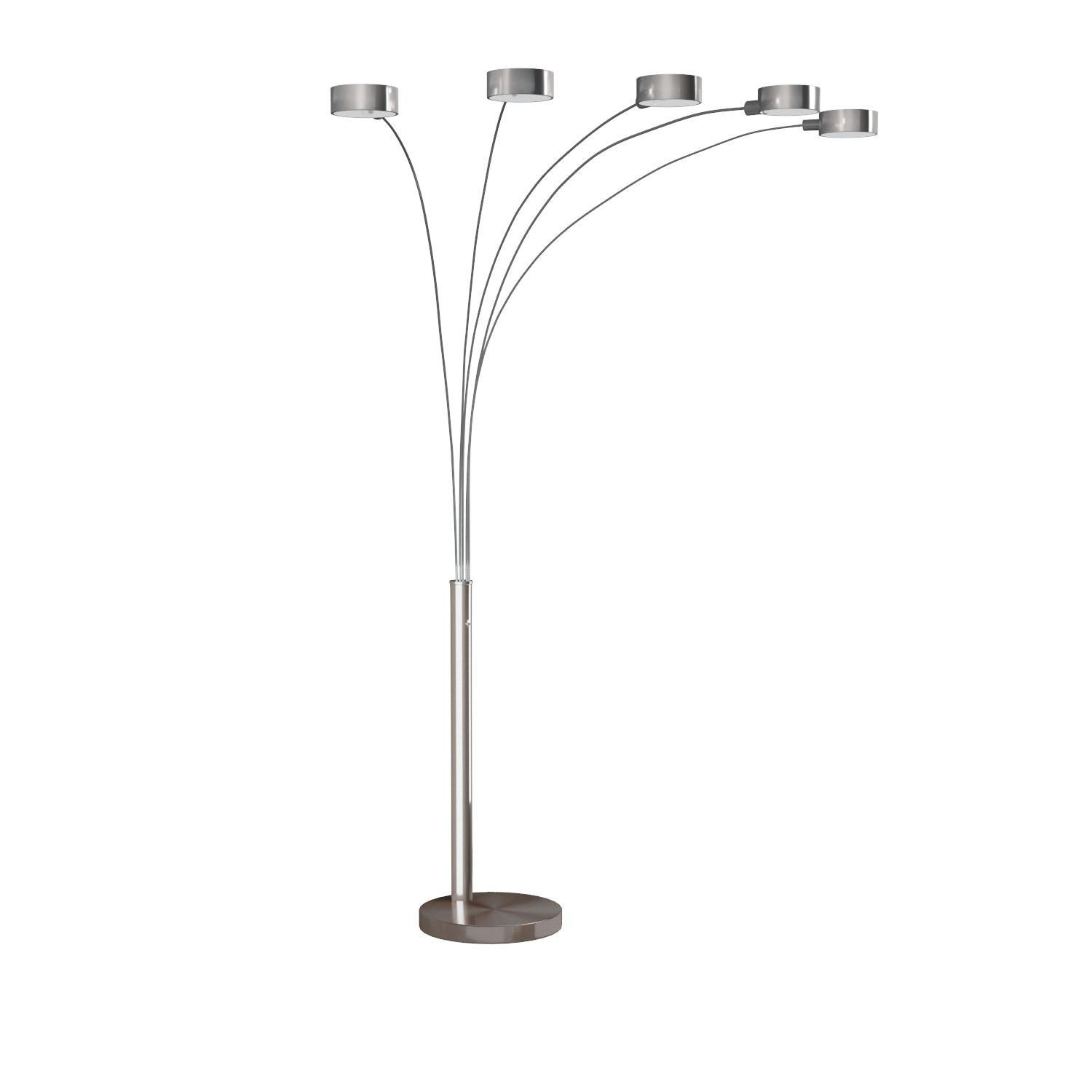 Artiva USA LED207901 Micah Plus Modern LED 5-Arched Satin Nickel Floor Lamp with Dimmer, 88'', Brushed Steel