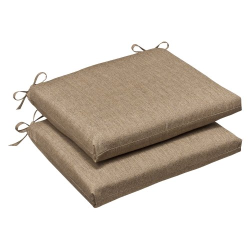 Pillow Perfect Indoor/Outdoor Squared Corners Seat Cushion (Set of 2) with Sunbrella Linen Sesame Fabric, 18.5 in. L X 16 in. W X 3 in. D (Linen Cushion)