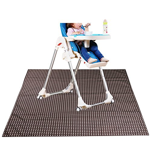 Sumnacon Baby Splat Mat for Under High Chair Floor Protector, Reusable Washable Feeding Highchair Food Splash Spill Mats,Toddler Seat Splat and Portable Kids Play Mat (Coffee)