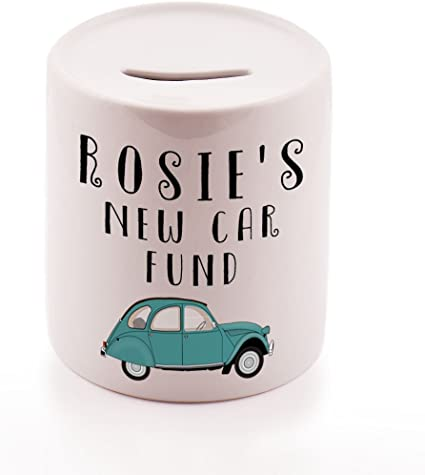 Personalised Any Name New Car Money Jar Ceramic Money Pot Gift Savings Jar Wedding Gift Piggy Bank Stocking Filler Secret Santa Christmas Gift Idea Amazon Co Uk Kitchen Home