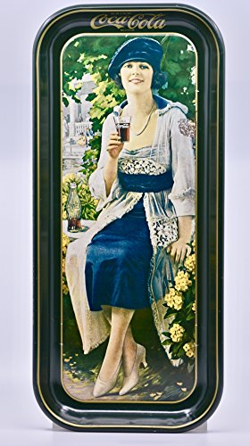 Coca-Cola Tray - Reproduction of 1910's Image - Black/Gold Trim - 19 x 8.5 x 1 Inch - (Coca Cola Advertising Tray)