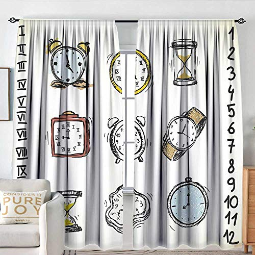 Petpany Bathroom Curtains Clock,A Collection of Vintage Style Watches and Doodled Clocks Hand Drawn Illustration,White and Black,Drapes Thermal Insulated Panels Home décor 84
