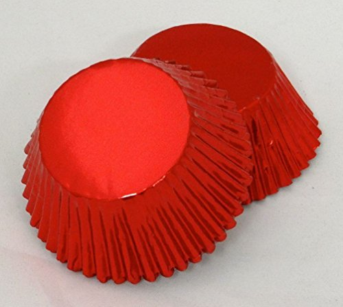 Set of 100 Red Foil Standard Muffin Baking CupCake Liners BCF-03-100