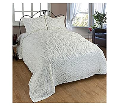 Beatrice Home Fashions Wedding Ring Chenille Bedspread, Full