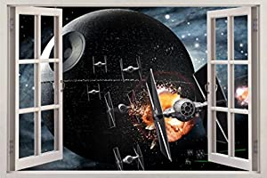 Perfect Star Wars DEATH STAR 3D Window View Decal WALL STICKER Home Decor Art Mural  C647, Giant Part 26