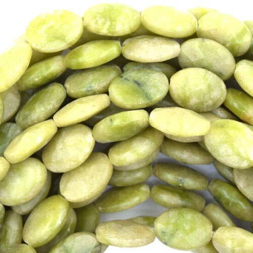 buyallstore 14mm Faceted Lemon Green Jade Flat Oval Beads 15