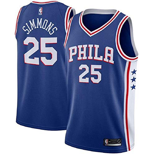 (Mitchell & Nesss Men's Ben Simmons Pheiladelphia 76ers #25 Swingman Blue Jersey (Blue, XXL))