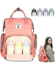 NARUTOO Diaper Bag Backpack, Multi-Functional Waterproof Mommy Diaper Bag, Large Capacity Diaper Bag with Diaper pad and Insulated Pockets, Durable Baby Diaper Bag for Baby Care