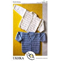 Baby Double Knitting DK Pattern - Childrens Ridge Stitch Long Sleeved Cardigans (UKHKA 65)