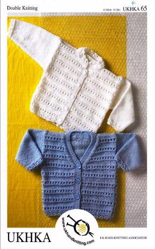 Baby Double Knitting DK Pattern - Childrens Ridge Stitch Long Sleeved Cardigans (UKHKA 65)
