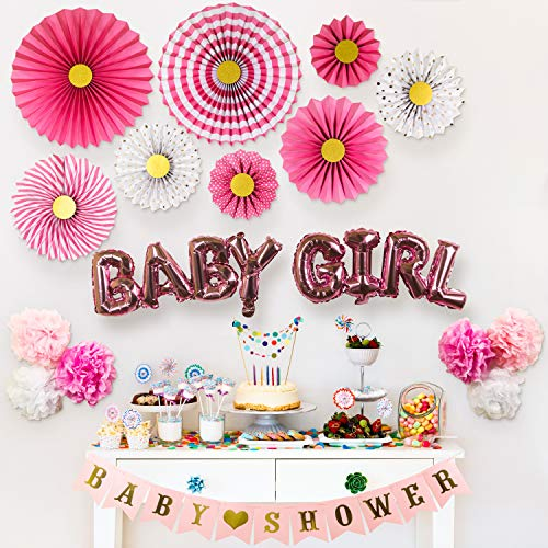 Partady Baby Shower Decorations for Girl - Pink and Gold Hanging Decorations Set with Paper Fans Kit, Banner, Tissue Pompoms Flowers and Balloons - Great -