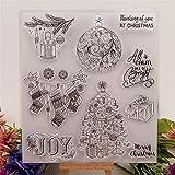 YULEKITO Happy Christmas Tree Stocking Clear Stamps
