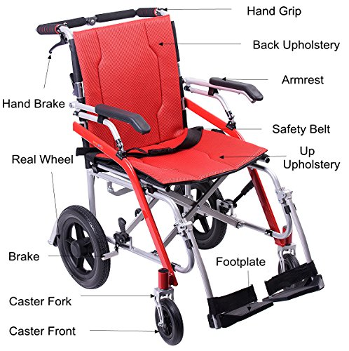 Hi-Fortune 21 lbs Lightweight Transport Medical Wheelchair with Adjustable Armrests and Hand Brakes, Portable and Folding with Magnesium Alloy, 18'' Seat, Red by Hi-Fortune (Image #7)