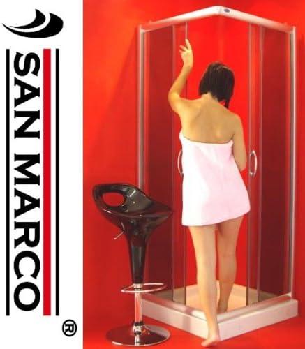 San Marco sms1002-Mampara de baño 90 x 90 mm, cristal, color azul: Amazon.es: Hogar