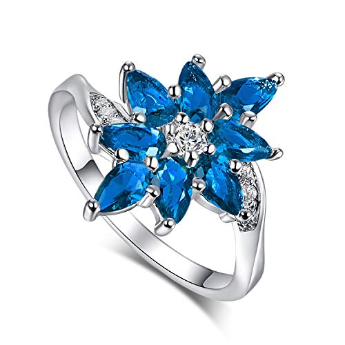 Mavonne 925 Sterling Silver Created Green Topaz Filled Cluster Flower Anniversary Ring K0084R27-10 (Color : Dark Blue, Size : 6)