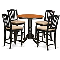 East West Furniture JACH5-BLK-C 5 Piece Kitchen Dinette Table and 4 Counter Height Dining Chair Set, Black/Cherry Finish