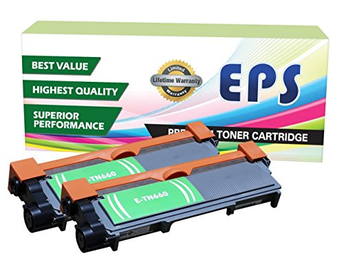 2 Pack EPS Compatible Replacement Toner Cartridge for Brother TN660 TN630 Black
