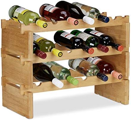 Compacto: botellero de madera con capacidad para un máximo de 12 botellas; estantería vino apilable