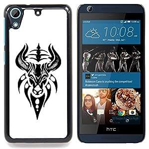 FOR HTC Desire 626 & 626s Queen Pattern - Ram Bull Head Art Drawing Tattoo - Doble capa de armadura de la cubierta del caso del protector -
