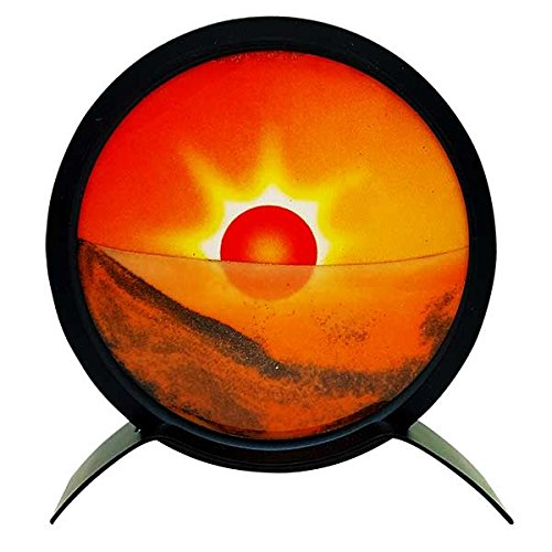 Relaxus Zen Sands Art Display, Mirror On Back Side. 6 Decorative Tabletop Moving Sand Picture Moon
