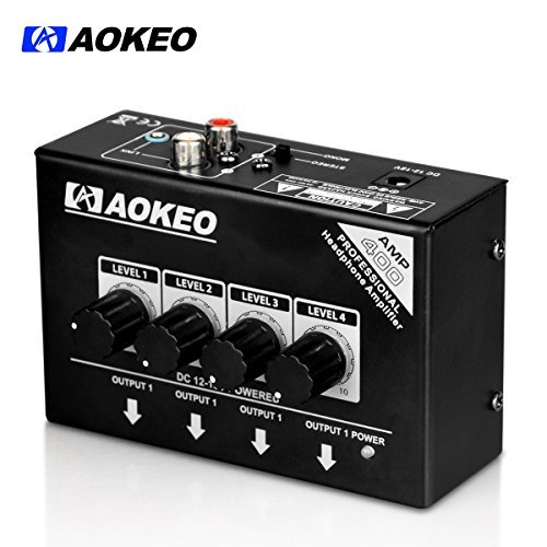 Aokeo Super Compact 4-Channel Stereo Headphone Amplifier with DC 12V Power Adapter for Sound Reinforcement, Studio, Stage, Choir, Features Ultra Low Noise, Premium Sonic Quality (AMP-400)