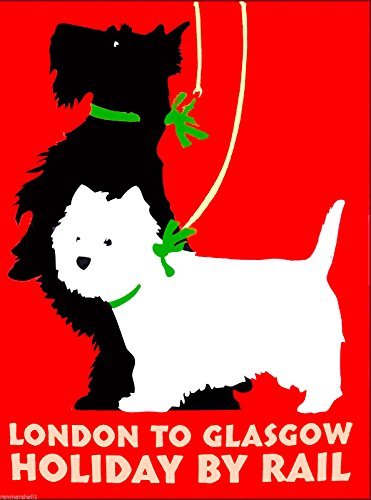 A SLICE IN TIME London England Glasgow Scotland Scottish Terrier Dog Dogs West Highland Terrier Scottie Westie Travel Advertisement Poster Art Print. Measures 10 x 13.5 inches ()