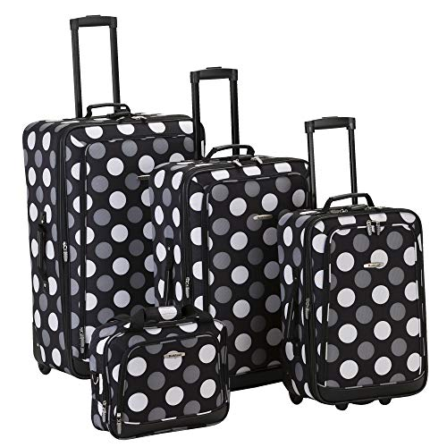 Rockland Luggage Dot 4 Piece Luggage Set, Black Dot, One - Handled Pattern