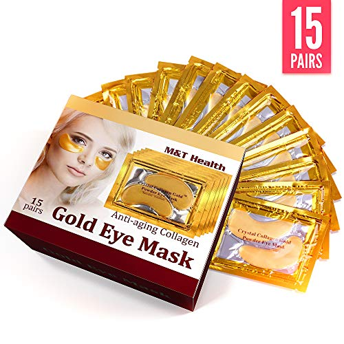 Under Eye Mask, 24K Gold Eye Pads, Eye Gel Pads, Anti-Aging Hyaluronic Acid Under Eye Patches, Collagen Eye Treatment Mask for Anti-Wrinkle, Reducing Dark Circles, Under Eye Bags (15 Pairs)