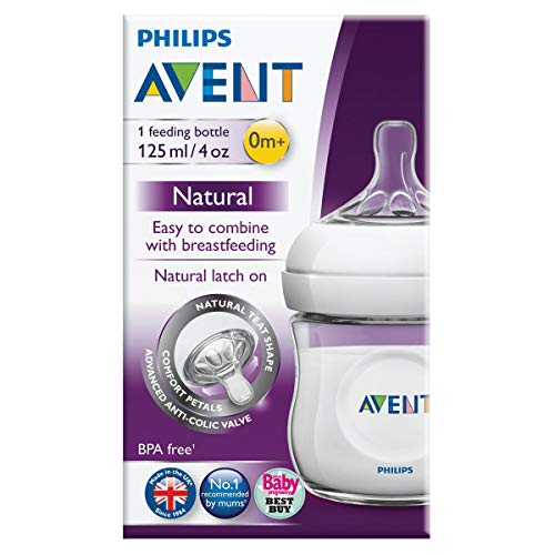 Philips AVENT Natural Polypropylene Bottle, Clear, 4 Ounce, 4 Count