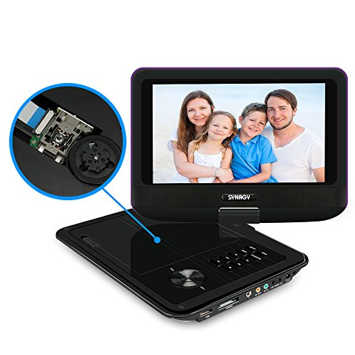 "SYNAGY 9"" Portable DVD Player CD Player with Swivel Screen Remote Control Rechargeable Battery Car Charger Wall Charger, Personal DVD Player"